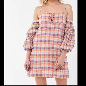 Urban Outfitters Somerville Crinkle Cold Shoulder Dress